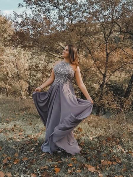 A-Line/Princess Chiffon Beading Halter Sleeveless Floor-Length Dresses