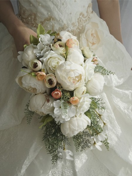 Charming Cascade Silk Flower Bridal Bouquets