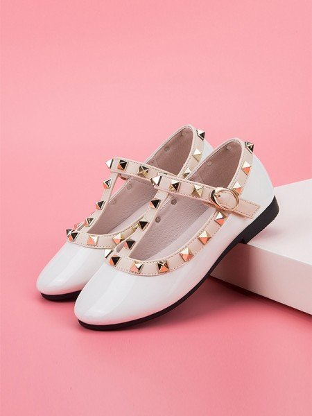 Girl's Microfiber Leather Closed Toe With Rivet Flat Heel Flower Girl Shoes
