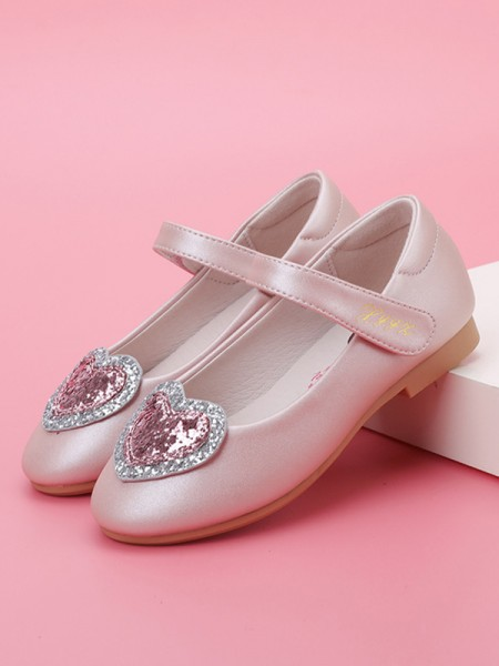 Girl's Microfiber Leather Closed Toe With Sparkling Glitter Flat Heel Flower Girl Shoes