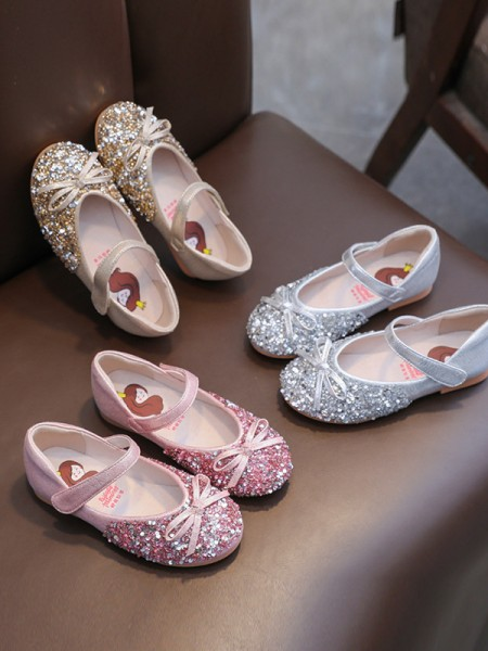 Girl's Closed Toe Flat Heel Microfiber Leather With Sequin Flower Girl Shoes