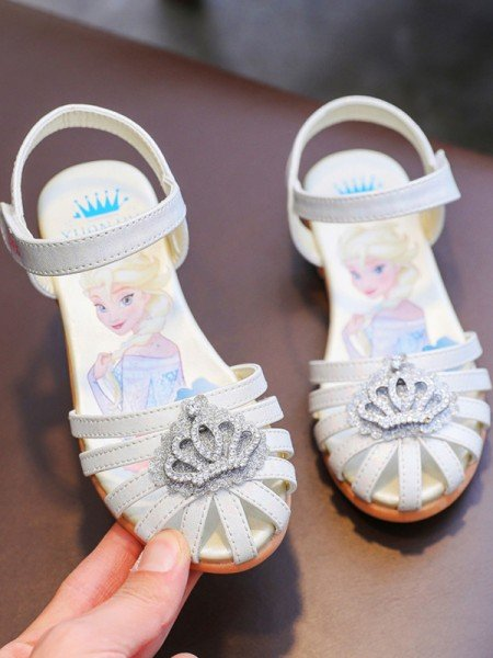 Girl's Microfiber Leather With Rhinestone Closed Toe Flat Heel Flower Girl Shoes