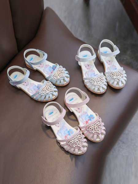 Girl's Microfiber Leather With Pearl Closed Toe Flat Heel Flower Girl Shoes