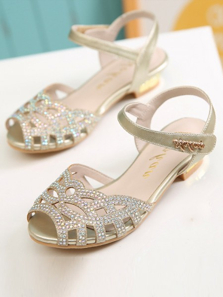 Girl's Microfiber Leather With Rhinestone Peep Toe Low Heel Flower Girl Shoes