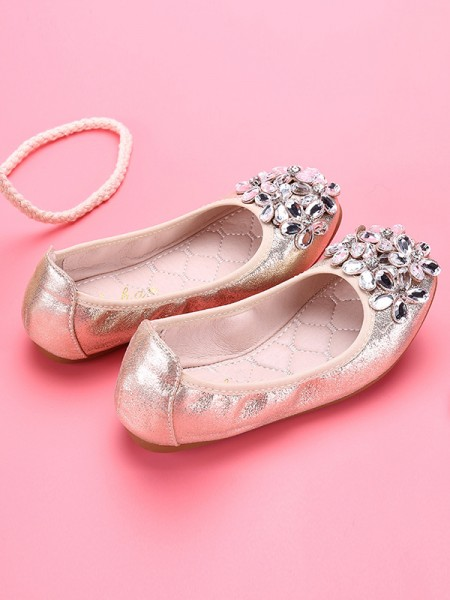 Girl's Closed Toe Microfiber Leather With Rhinestone Flat Heel Flower Girl Shoes