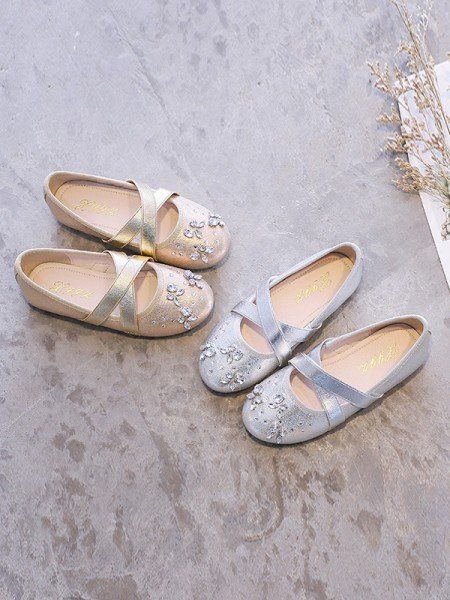 Girl's Closed Toe Microfiber Leather Flat Heel With Rhinestone Flower Girl Shoes