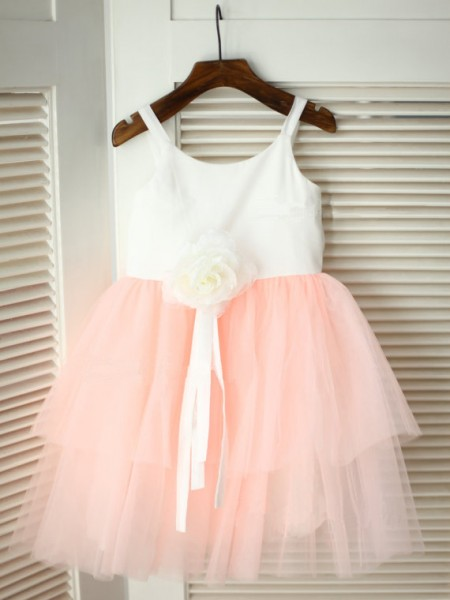 A-line/Princess Spaghetti Straps Sleeveless Hand-made Flower Long Tulle Flower Girl Dresses
