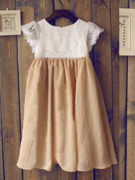 A-line/Princess Scoop Short Sleeves Long Chiffon Dresses