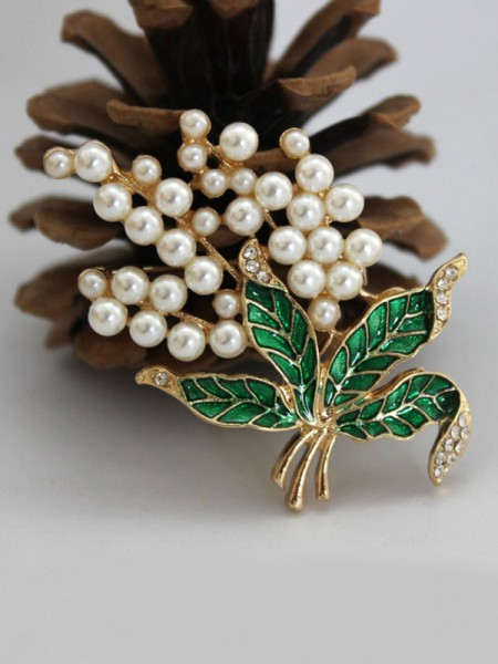 Vintage Alloy With Imitation Pearl Ladies' Brooch