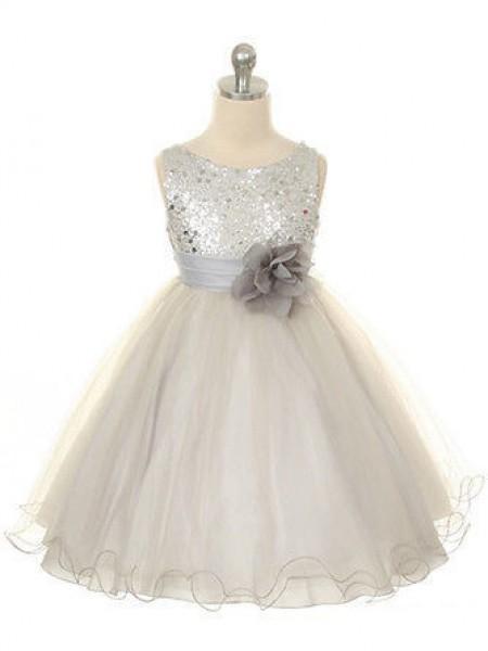 Ball Gown Jewel Sleeveless Hand-Made Flower Long Tulle Dresses