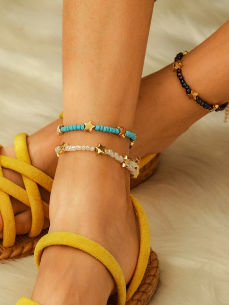 Awesome Alloy With Beads/Star Anklets(3 Pieces)