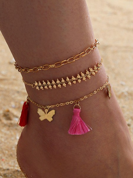 Trendy Alloy With Butterfly/Tassel Anklets(3 Pieces)