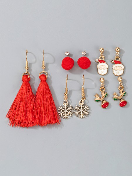 Christmas Gorgeous Snowflake Alloy Earrings(6 Pieces)