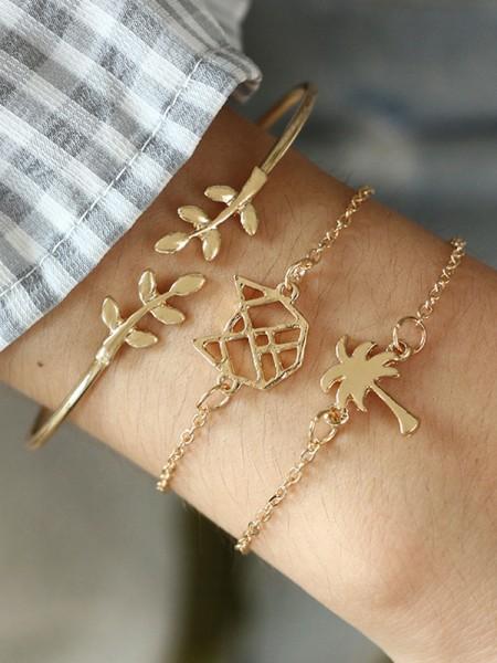 Fashionable Alloy With Leaf Bracelets(3 Pieces)