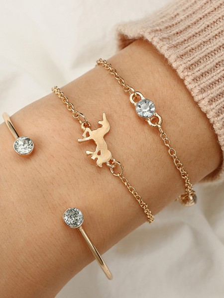 Extraordinary Alloy With Rhinestone Bracelets(3 Pieces)