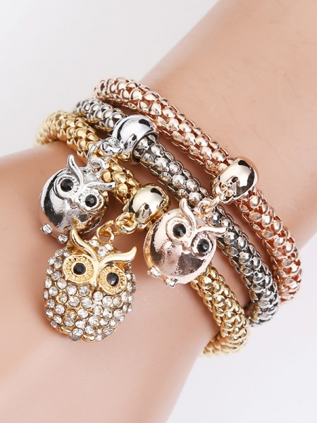 Delicate Alloy With Owl Bracelets(3 Pieces)