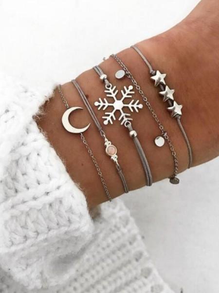 Bonny Alloy With Snowflake Bracelets(5 Pieces)