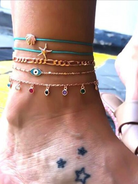 Sundry Starfish Shell Rhinestone Anklets(5 pieces)