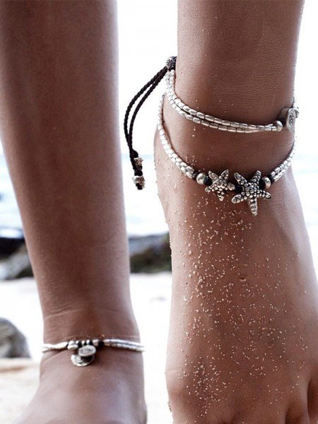 Retro Personality Starfish Rune Beach Alloy Anklets