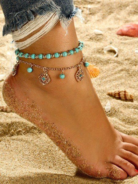 Fashion Bohemian Style Beaded Alloy Anklets(2 pieces)