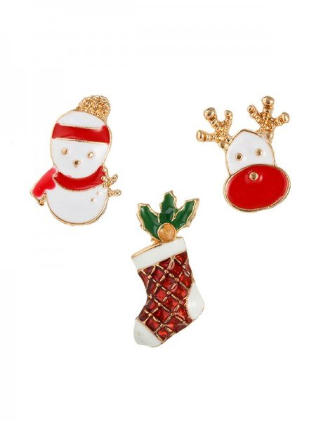 Christmas Lovely Snowman Alloy Brooches(3 Pieces)