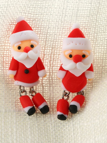 Christmas Sweet Clay With Santa Claus Earrings