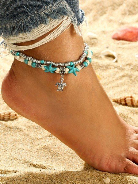 Stunning Alloy With Starfish/Beads Anklets