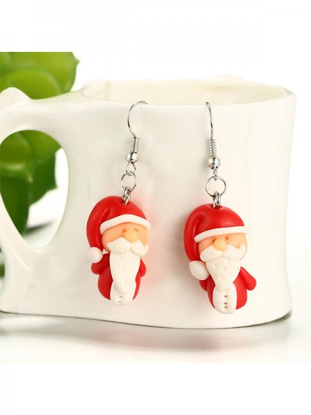Christmas Beautiful Clay With Santa Claus Earrings