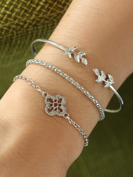 Chic Alloy With Flower/Leaf Bracelets(3 Pieces)