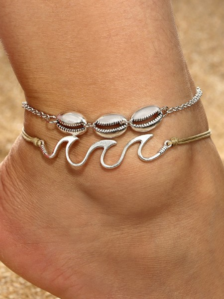 Hot Sale Beach Alloy Fishhook Shell Anklets(2 pieces)