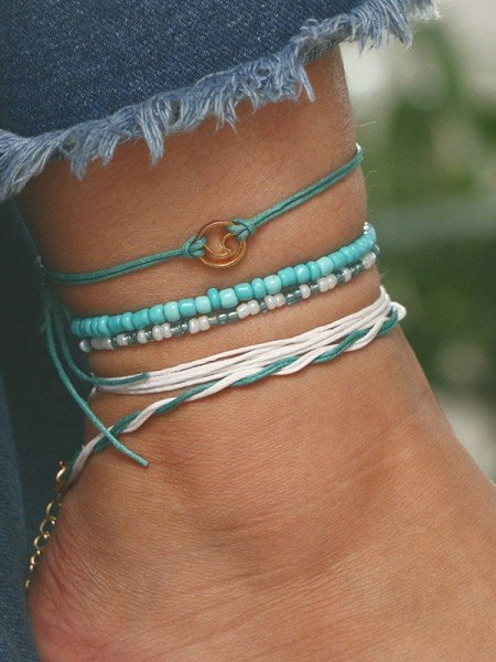 Handmade Beaded Leather Rope Anklets(5 pieces)