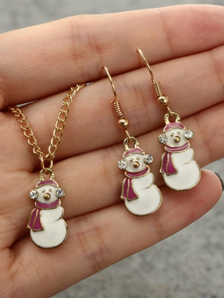 Christmas Magical Snowman Alloy Jewelry Set