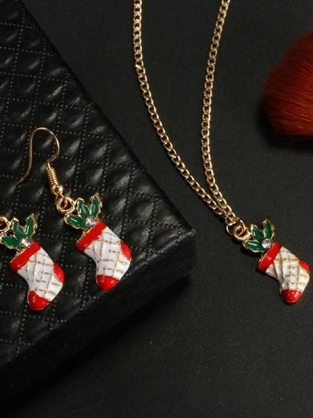 Christmas Exquisite Alloy With Socks Jewelry Set