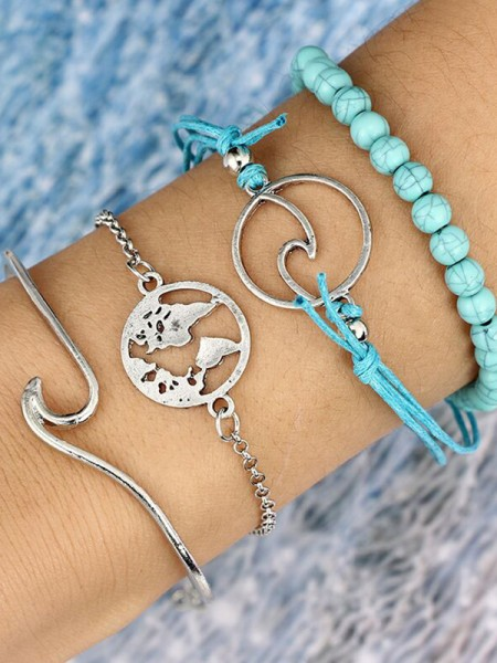 Brilliant Alloy Bracelets(4 Pieces)