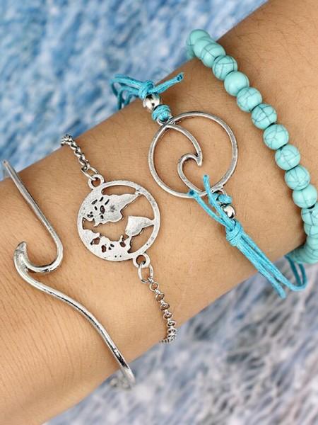 Brilliant Alloy Bracelets(4 Pieces)
