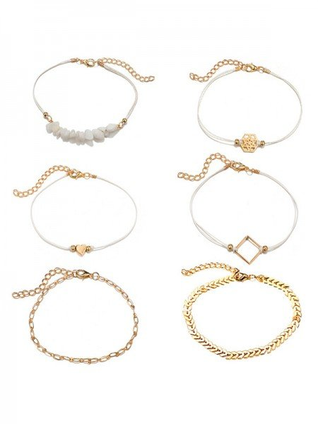 Charming Alloy Chain Hot Sale Bracelets(6 Pieces)