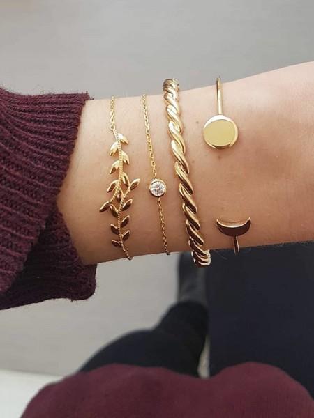 Stylish Alloy With Rhinestone/Leaf Bracelets(4 Pieces)
