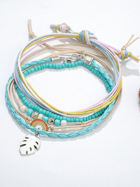 Attractive Alloy With Rainbow and Leaf Hot Sale Anklets(5 Pieces)