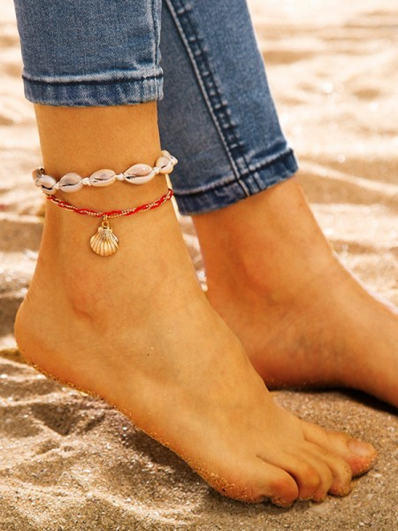 Fascinating Alloy With Shell Anklets(2 Pieces)