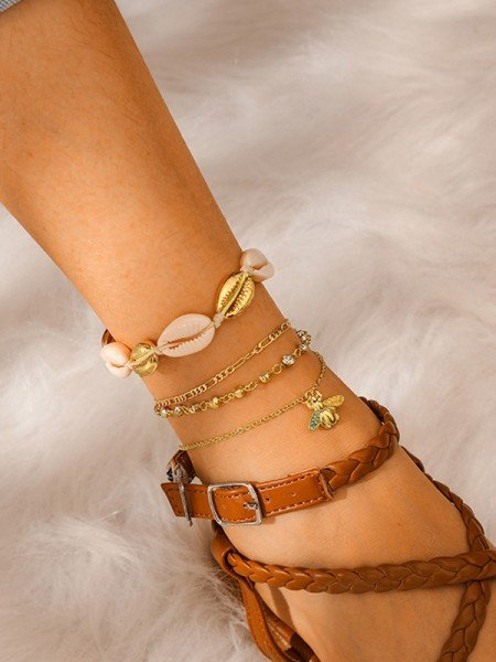 Shinning Alloy With Rhinestone/Shell Anklets(4 Pieces)