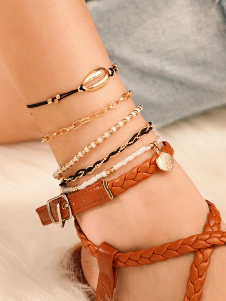 Exquisite Alloy With Shell/Beads Anklets(5 Pieces)