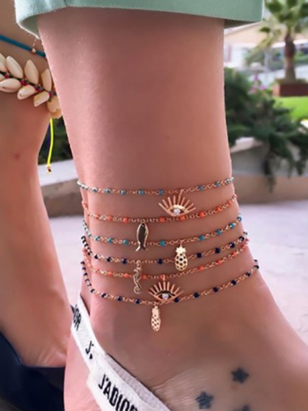 Gorgeous Fish Alloy Anklets(6 Pieces)