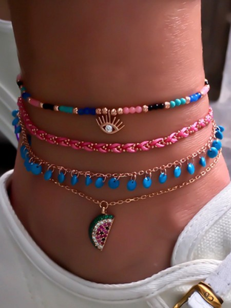 Fashion Watermelon Alloy Anklets(4 Pieces)