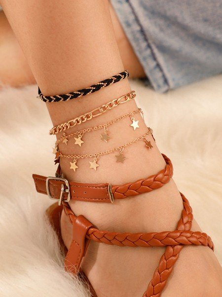 Graceful Alloy With Star Hot Sale Anklets(4 Pieces)