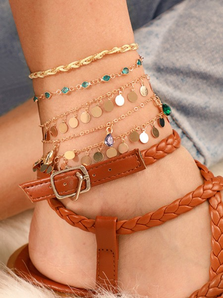 Shinning Alloy With Rhinestone Anklets(5 Pieces)