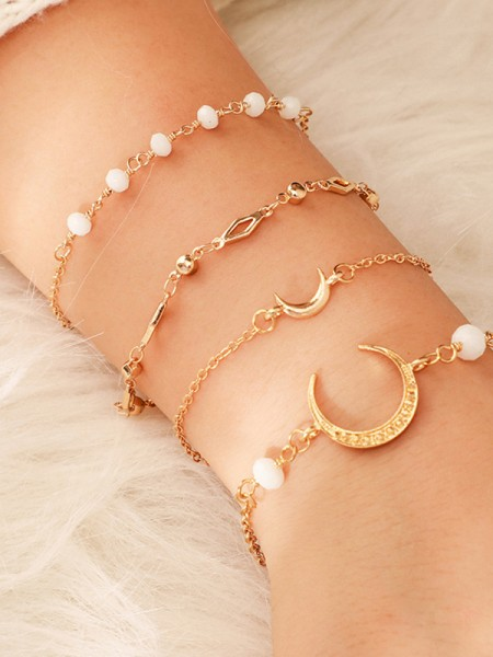 Lovely Alloy With Moon/Beads Bracelets(4 Pieces)