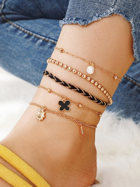 Fashionable Alloy With Imitation Pearl Anklets(5 Pieces)