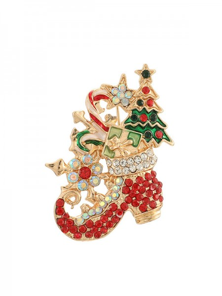 Christmas Pretty Alloy With Rhinestone Brooches