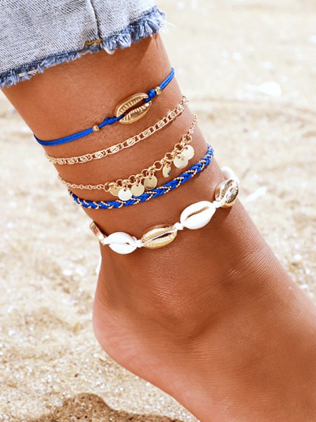 Fascinating Alloy With Shell Anklets(5 Pieces)