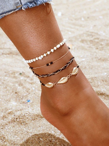 Awesome Alloy With Shell/Beads Anklets(4 Pieces)